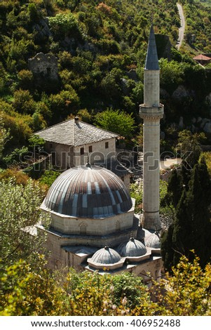 Beautiful mosque in town of Pocitelj near Mostar, Bosnia and Hercegovina - stock photo