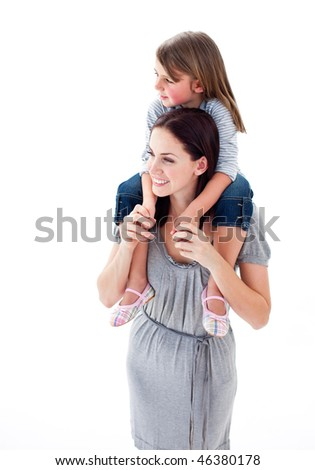 Beautiful mother giving her daughter piggyback ride against a white background