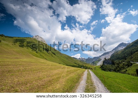 Beautiful Mounain Landscape in the Alps, in St. AntÃ?nien, Switzerland - stock photo