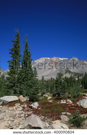Beautiful Mount Shasta on a clear day, blue sky. - stock photo