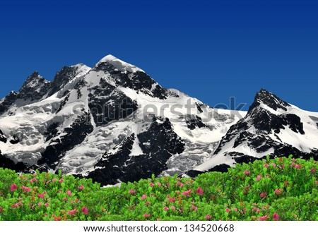 Beautiful mountain Breithorn and Klein Matterhorn