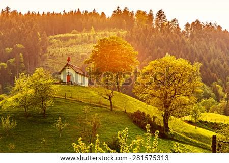 Beautiful Mountain Forest Landscape Church Sunset Stock Photo