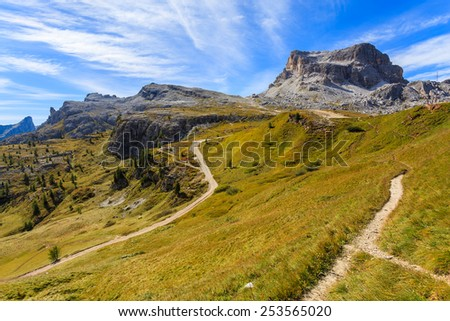 Beautiful mountain landscape and hiking trails near Cinque Torri rock formation, Cortina d'Ampezzo, Dolomiti Mountains, Italy - stock photo