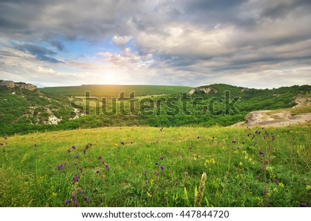 Beautiful mountain landscape. Composition of nature - stock photo