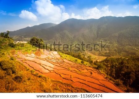 Beautiful mountain landscape. Himalayas - stock photo