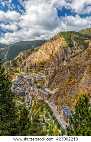 Beautiful mountain landscape in Andorra (Pyreness) - stock photo