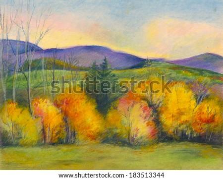 beautiful mountain landscape in autumn - stock photo