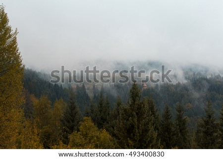Beautiful mountain landscape in autumn overcast weather.