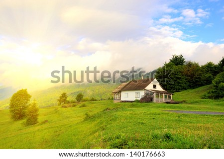Beautiful mountain landscape in summer day