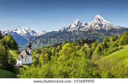 Beautiful mountain landscape in the Bavarian Alps with pilgrimage church of Maria Gern and Watzmann massif in the background, Nationalpark Berchtesgadener Land, Bavaria, Germany - stock photo