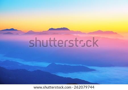 Beautiful mountain landscape, Japan - stock photo