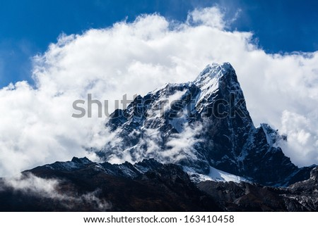 Beautiful mountain landscape looking at beauty view. Taboche mountain in Himalayas, Nepal - stock photo