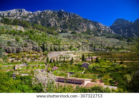 beautiful mountain landscape near village Fornalutx, Majorca, Spain
