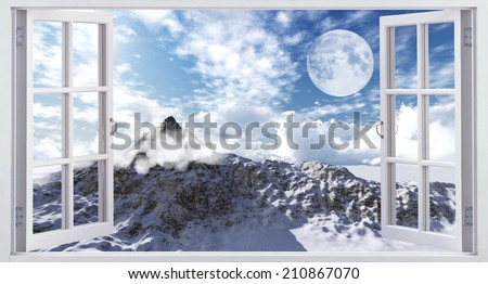 Beautiful mountain landscape, the view from the window. - stock photo