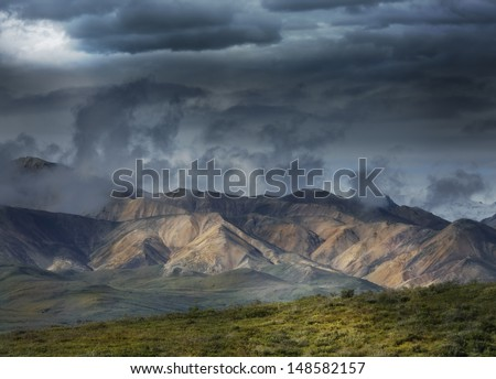 Beautiful Mountain Landscape With A Rainy Sky