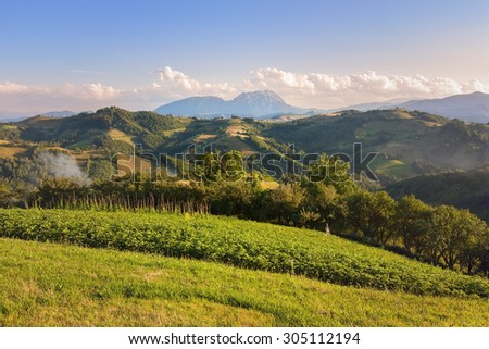 Beautiful mountain landscape with cultivated land - stock photo