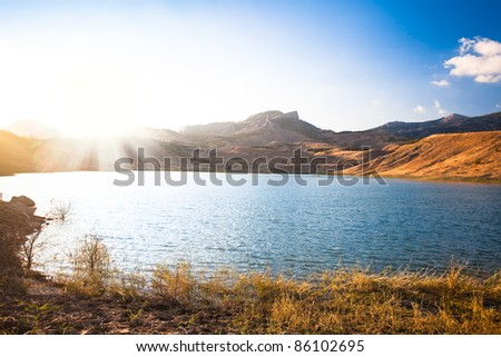 beautiful mountain landscape with lake