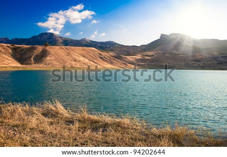 beautiful mountain landscape with lake in Crimea, Ukraine