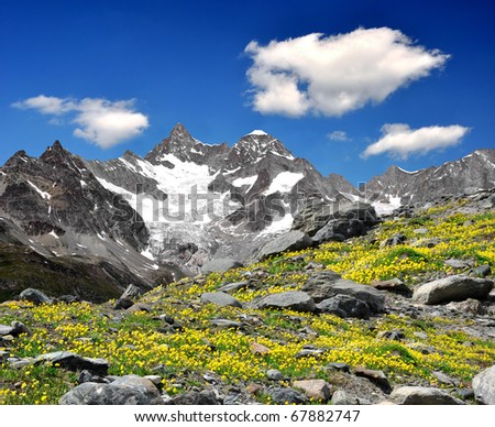 Beautiful mountain Ober Gabelhorn - Swiss alps - stock photo