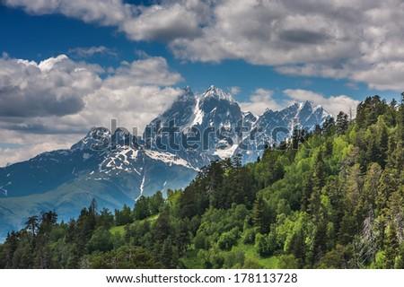 beautiful mountain on summer time - stock photo