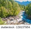 Beautiful Mountain River in Vancouver, British Columbia, Canada. - stock photo