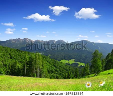 Beautiful mountain scenery, Bruneck, Italy Alps - stock photo