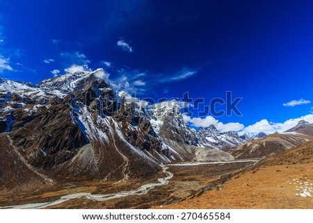 Beautiful mountain scenery in Himalaya - stock photo