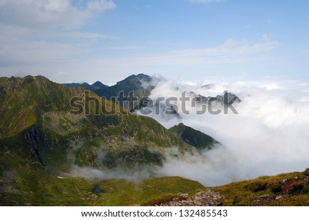 Beautiful mountain scenery in Romania, Fagaras Mountains