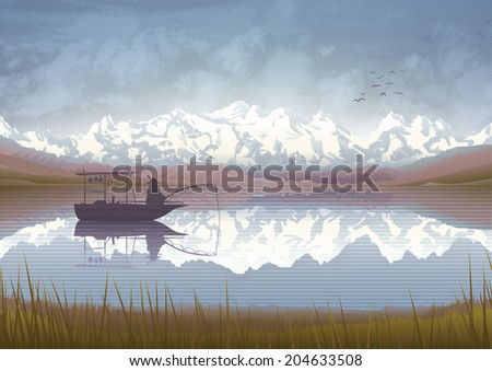 Beautiful mountain scenery with a old man in a boat fishing in a lake  - stock photo