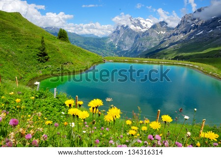Beautiful mountain scenery with lake - stock photo