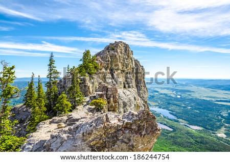 Beautiful mountain top view  - stock photo