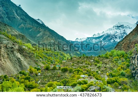 beautiful mountain valley in the northern part of the Karakorum mountains in Pakistan
