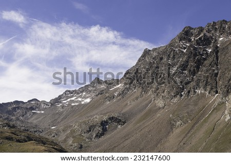 beautiful mountain view at Timmelsjoch pass at the border of Austria and Italy - stock photo