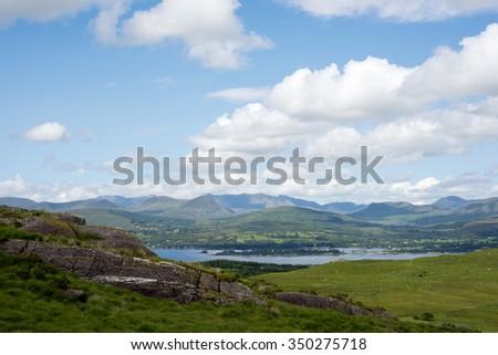beautiful mountain view from the kerry way walk in ireland - stock photo