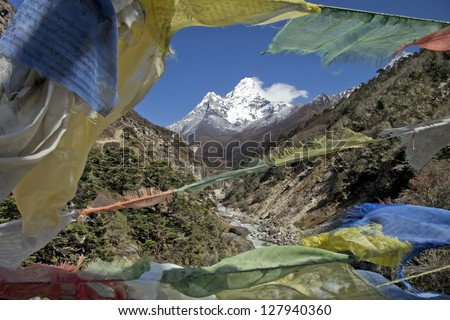 Beautiful mountain view of Everest Region, Sagarmatha National Park, Himalayas, Nepal - stock photo