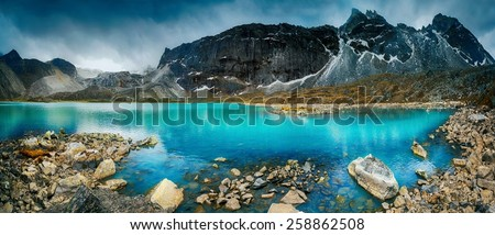Beautiful mountain view with reflection in Gokyo Lake, Himalayas, Nepal. - stock photo