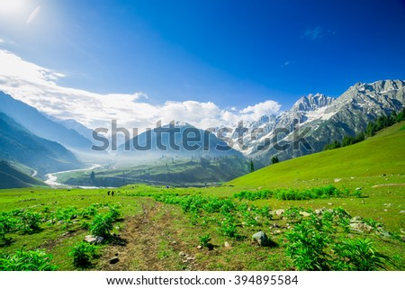 Beautiful mountain view with snow of Sonamarg, Jammu and Kashmir state, India - stock photo