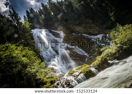 Beautiful mountain waterfall-Kals am Grossglokner,Austria.