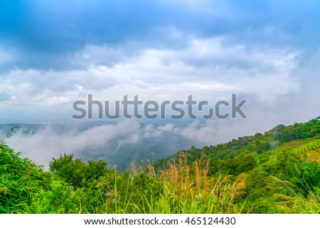 Beautiful mountain with blue sky landscape