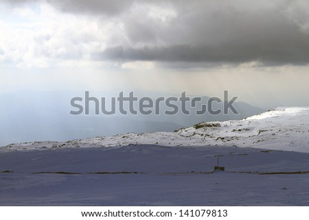 beautiful mountain with snow, low light