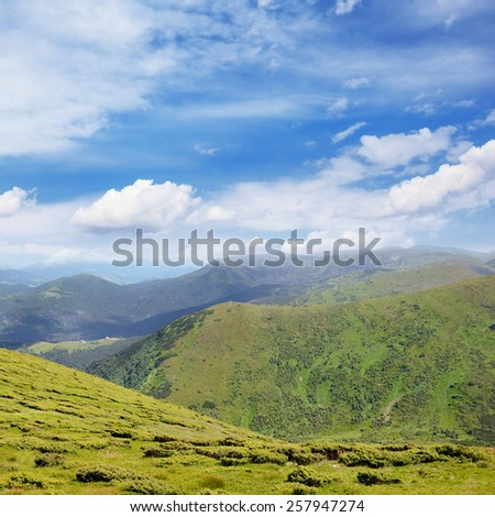Beautiful mountains and blue sky - stock photo