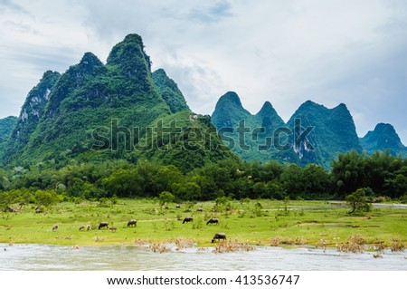 Beautiful mountains and river scenery in Guilin, China