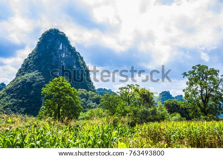 Beautiful mountains and rural scenery in summer.