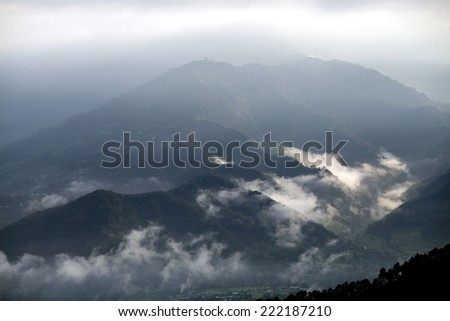 Beautiful mountains in Pokhara valley - stock photo