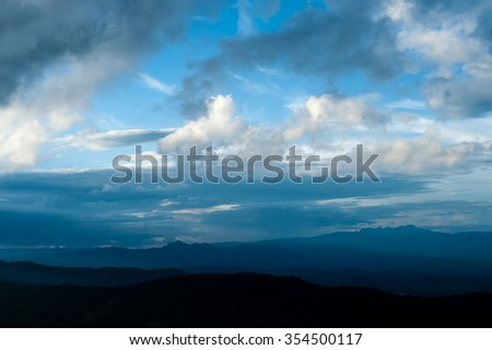 Beautiful mountains landscape and cloud blue sky
