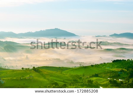Beautiful mountains landscape and fog blue sky