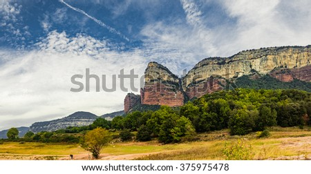 Beautiful mountains landscape banner with vivid colors. - stock photo