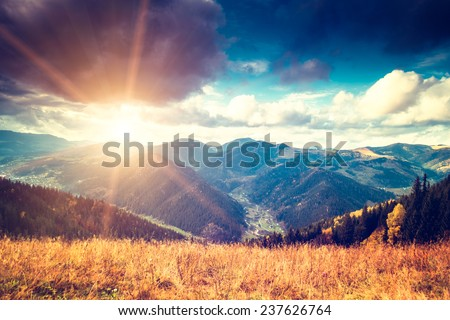 Beautiful mountains landscape. Sunset sky. Carpathian, Ukraine, Europe. - stock photo