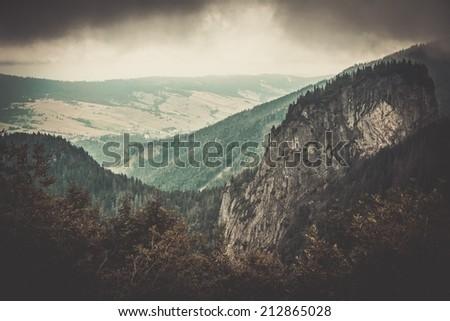 Beautiful mountains landscape view - stock photo