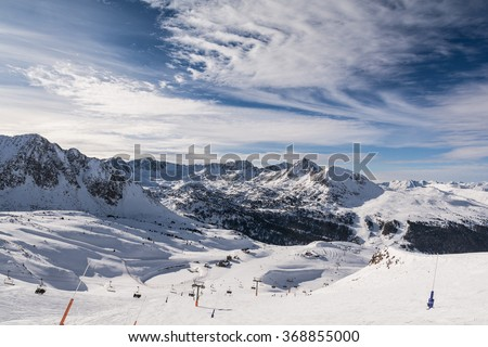 Beautiful mountains landscape with blue sky in Grandvalira ski resort. Andorra - stock photo